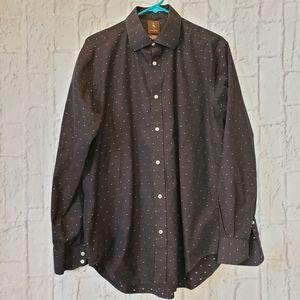 TAILORBYRD Black w/Swiss Dots Button-down Shirt
